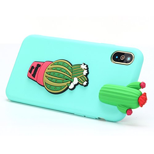 Cover iPhone X Spiritsun Case iPhone X Custodia Moda Ultraslim Soft TPU Case 3D Diy Handy Kawaii Cover High Quality Case Elegante Souple Flessibile Liscio Copertura Perfetta Protezione Shell Morbido S Cactus