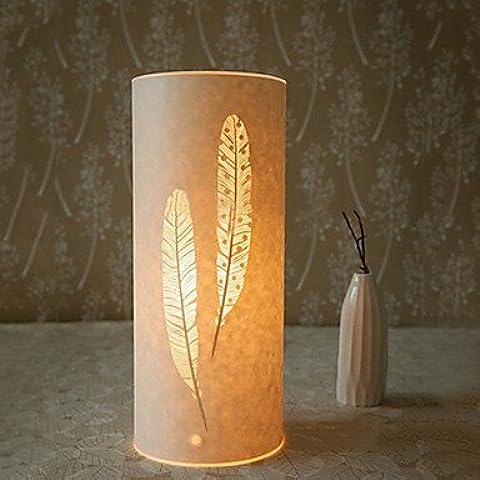 Sepfortn Lampada da terra a luce 1 Classic Feather Patten paralume di pergamena 220V luci scrivania