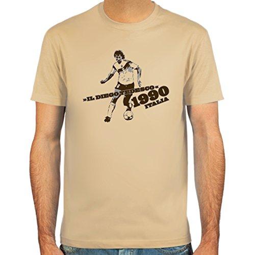 """SpielRaum T-Shirt \""""il Diego tedesco\"""" ::: Farbauswahl: skyblue, sand oder weiß ::: Größen: S-XXL ::: Fußball-Kult"""