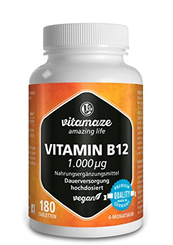 Vitamin B12 hochdosiert Methylcobalamin 1000 µg 180 Tabletten vegan 6 Monatsvorrat Qualitätsprodukt-Made-in-Germany ohne Magnesiumstearat, jetzt zum Aktionspreis und 30 Tage kostenlose Rücknahme! 1 er Pack (1 x 45 g)
