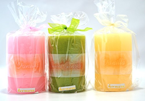 Duftkerzen Sparset 3-teilig, Vanille + Sunrise, sortierte Farben