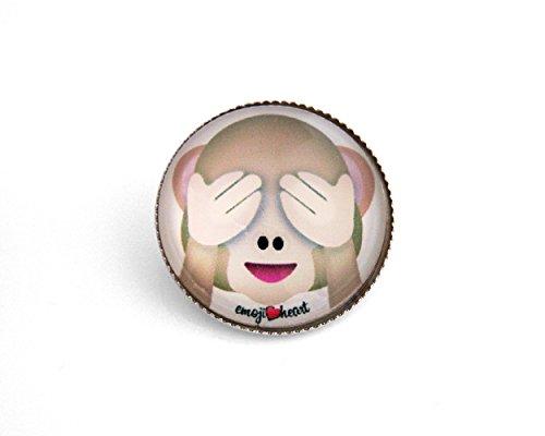 Emoji-Anstecker-Button von EmojiHeart - cooler Sticker-Schmuck-Pin aus echtem Glas ein echter Hingucker - Glas mit tollem 3D Effekt Emoji-Smiley (See no evil Monkey)