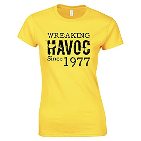 Wreaking Havoc Since 1977 40th Birthday Birth Year Distressed Womens T-Shirt Ladies Fitted Top