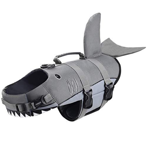 Petacc Gilet de Sauvetage pour Chien avec Poignée Gilet de Flottaison pour Chien en Forme Requin Gris (Gris-M)