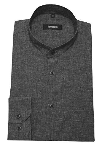 Stehkragen Leinen Hemd grau meliert feines Halbleinen HUBER 0432 bequeme Passform S bis 5XL Grau