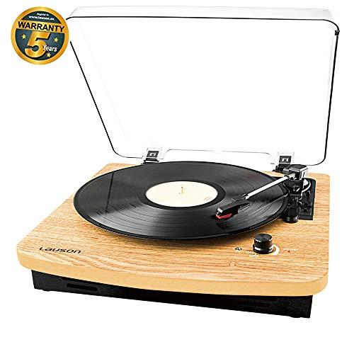 LAUSON USB Plattenspieler mit DREI Drehzahlen und eingebauten Stereo-Lautsprechern, Bluetooth-Funktion, Vinyl-to-MP3, CL608 Naturholz - Plattenspieler Holz Vinyl