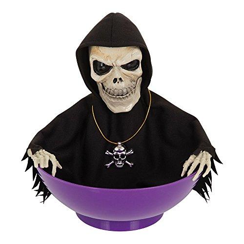 8Skelett Candy Schüssel Licht und Sound, schwarz/beige/lila, one size (Süßigkeiten-schädel Halloween-kostüme)