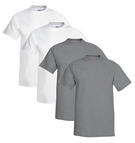 Herren Beefy T-Shirt (4er Pack), XXX-Large, 2 Wei? / 2 Oxford Grey (Hanes White Oxford)