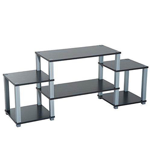 Homcom Meuble TV Design Contemporain 6 étagères Multi-rangements 137 x 36 x 57 cm Noir Gris