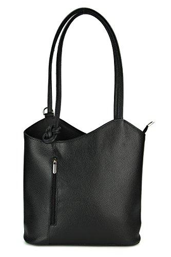 Belli ital. Ledertasche Backpack 2in1 Rucksack Handtasche Schultertasche - Freie Farbwahl - 28x28x8 cm (B x H x T) (Schwarz) - Rindleder-umhängetasche Handtasche