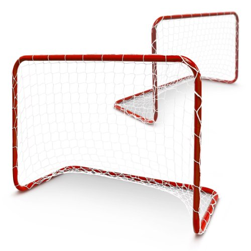 Relaxdays Fußballtor Kinder 2er Set, Mini-Fußballtore, Minitor Set Metall, HxBxT: 57 x 78 x 46 cm, Tornetz, rot