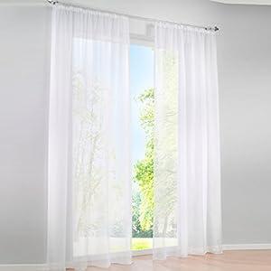 HongYa 1er-Pack Uni Gardine Transparenter Voile Schal Vorhang mit Kräuselband H/B 145/145 cm Sand
