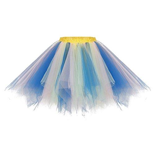 Bbonlinedress Kurz Retro Petticoat Rock Ballett Blase 50er Tutu Unterrock Blue-champagne