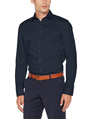 Seidensticker Slim Herren Langarm Bügelfrei Stretch Formal Hemd Blau (Dunkelblau 19)