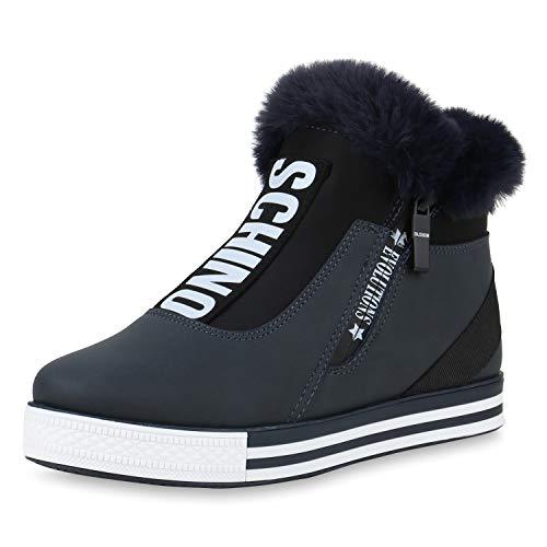 SCARPE VITA Damen Plateau Sneaker Warm Gefütterte Winter Turnschuhe Kunstfell 170602 Dunkelblau Warm Gefüttert 38