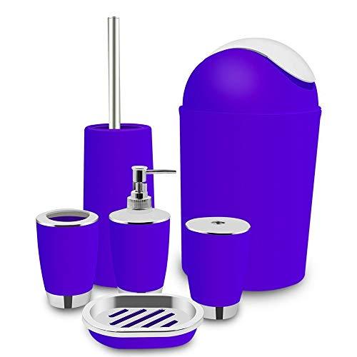 Amgend 6 Stücke Überzug Kunststoff Badesets Zahnbürstenhalter Flasche Toilettenbürste Tassen Seifenschale Ashcan Bunte Bad-Accessoires, Burgund (Burgund Zahnbürstenhalter)