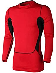 Greatlizard Compression Serree Manches Longues T-Shirt Athletic Tops pour Homme Fitness