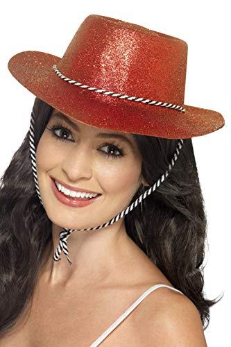 Smiffys Damen Glitzer Cowboy Hut mit Kordel, One Size, Rot, 21369