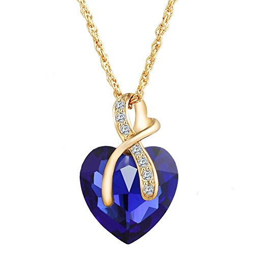 Women's Day Special : Fabula Deep Blue Titanic Heart Of Ocean Inspired Pendant Necklace