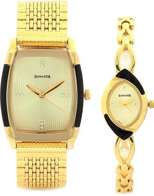 41hSp WGCuL - Sonata 70808069YM01 Gold Couple watch