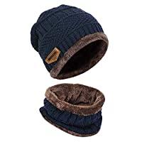 Funmazit Warm Knitted Hat and Circle Scarf Skiing Hat with Fleece Liner Knitted Hat and Circle Scarf Skiing Hat Mens Knitted Beanie Hats and Circle Scarf Set for Winter Outdoor Sports