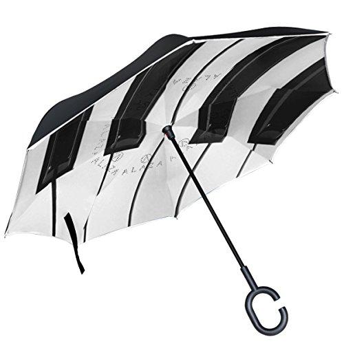 ALAZA schwarz weiß Klavier Schlüssel seitenverkehrt Double Layer Winddicht Rückseite Regenschirm -