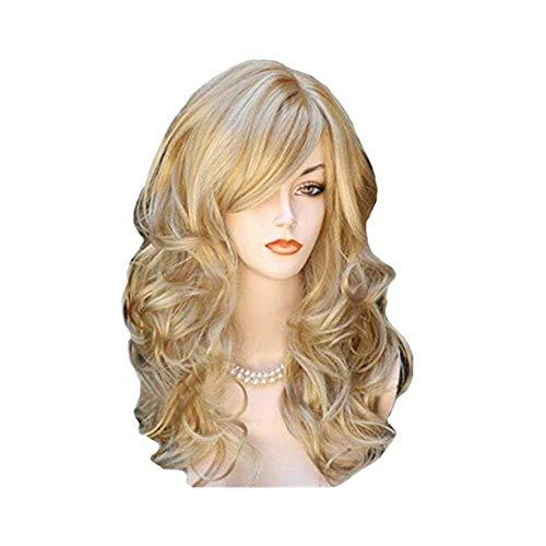 Perücken Haar Für Frauen, Mittellange Lockige Haare Kopfbedeckungen Mode Realistische Synthetische Perücke Weibliche Rollenspiele Party Täglichen Gebrauch Welliges Haar 23,6 zoll / 60 cm ( Color : B )