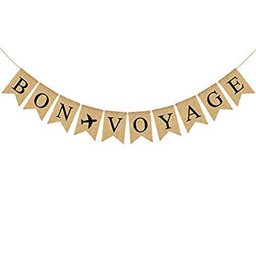 Jute Sackleine Bon Voyage Banner mit Flugzeug Ruhestand, Reisethema, Kreuzfahrt-Party-Dekoration