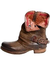da0be949c67830 fuxinhe Winter Biker Boots Runder Kopf Vintage Stiefel Kunstleder  Cowboystiefel Zipper-Schuhe Gürtelschnalle…