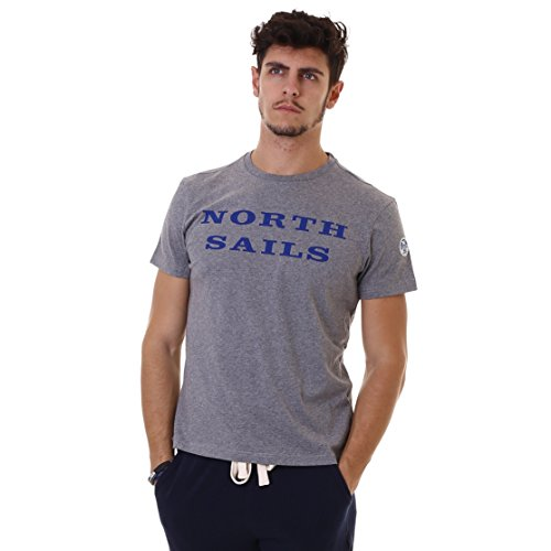 North Sails Herren T-Shirt S/S W/Print Grigio (Medium Grey Melange)