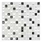 Moderne Schwarz Weiß 3D Ziegel Mosaik Fliesen Wandpapier Folie Badezimmer Küche Wohnkultur Aufkleber