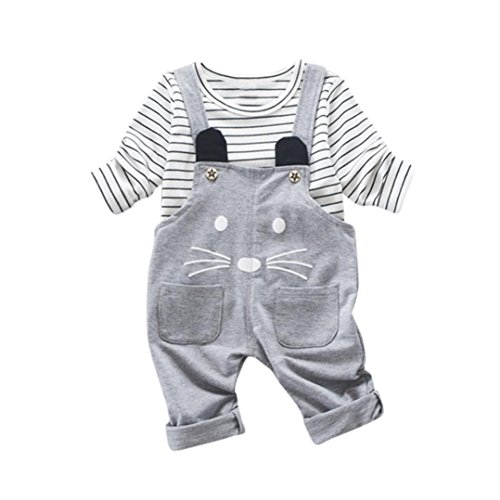 Bekleidung Longra 2Pcs Baby Kinder Jungen Mädchen Karikatur Streifen Langarm T-Shirt + Bügel Overall Hosen Kinderkleidung(1-4Jahre) (100CM 3Jahre, Gray)