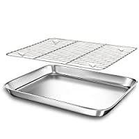 Baking Sheet Pans for Toaster Oven, Small Stainless Steel Cookie Sheets Metal Bakeware Pan Tray 12 inch Silver
