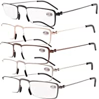 5 Pairs Valupac occhiali da lettura(Includono Canna di fucile,Argento,nero,Oro,Brown)