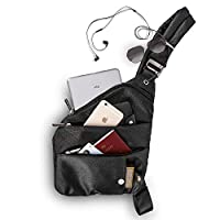 Waterproof Sling Bag, Anti Theft Slim Classic Crossbody One Shoulder Bag for Travel, Walking Hiking, Cycling with Headphone Port