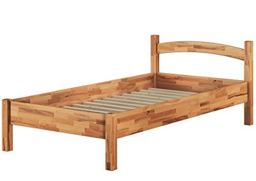 Erst-Holz® Massivholzbett Buche Natur 100x200 Einzelbett Bettgestell mit Rollrost 60.73-10