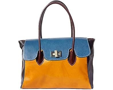 """FIRENSE - Sac bandoulière, sac à main en peau de vache, femme, cuir """"Naples"""" 37 × 25 × 14 cm, jaune / bleu"""