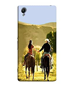 PrintVisa Designer Back Case Cover for Sony C6 (couple enjoying horse riding together)