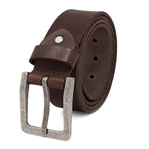 ROYALZ Antik Vintage Ledergürtel für Herren Büffel-Leder aus robusten 4mm Voll-Leder Jeans-Herren-Gürtel mit Dornenschließe 38mm, Farbe:Dunkelbraun, Größe:90