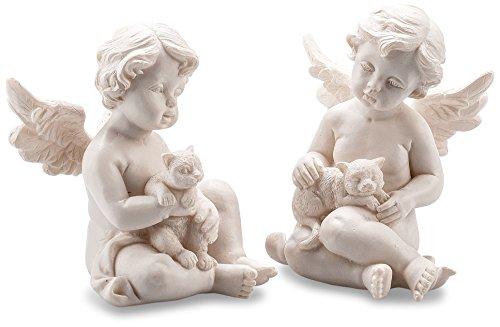 Pajoma 10609 Figuras de ángeles con Gato en Conjunto de 2, Resina, Altura de 7,5 cm