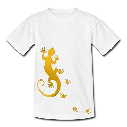 Spreadshirt Running Gecko Teenager T-Shirt, 134/146 (9-11 Jahre), Weiß
