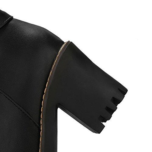 AgooLar Damen Eingelegt Hoher Absatz Rund Zehe Pu Leder Reißverschluss Stiefel Schwarz