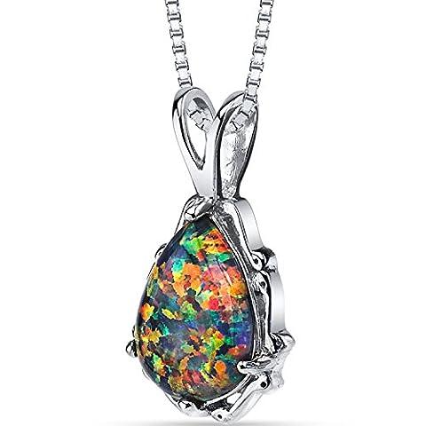 Revoni-Imperial Beauty : Pendentif en forme de poire pierre carreaux coupe Chaîne en argent Black Opal