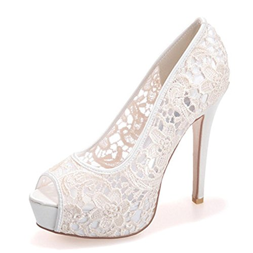 Elobaby Womens Wedding Ladies Tacco Alto Pizzo Kitten Sandali Party Prom Scarpe da Sposa su Misura, Ivory, 37