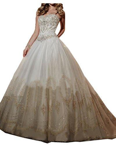 Ivydressing Damen Romantisch Herzform Applikation Steine Hochzeitskleid Brautkleid-32-Elfenbein