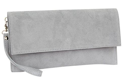 dleder Clutch Handtasche veloursleder Tasche Handschlaufe WL811 (Grau 2) ()