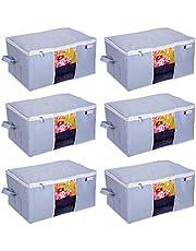 Prettykrafts Underbed Storage Bag, Storage Organizer, Blanket Cover with Side Handles (Set of 6 pcs) - Grey