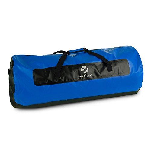 yukatana Quintoni 120 • Seesack • Packsack • Sporttasche • Trekking-Rucksack • Travel-Reiserucksack • 120 Liter Volumen • wasserdicht • Tragegurte • Einhand-Henkel • verstärkter Boden • blau-schwarz (Packsack Großer)