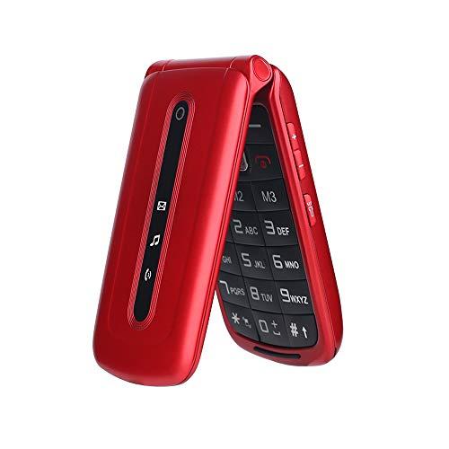 Ukuu Rot Senioren-Handy mit großen Tasten und ohne Vertrag, Mobiltelefon Mit Notruf-Knopf und Taschenlampe 2,4-Zoll-Display Dual SIM Klapphandy