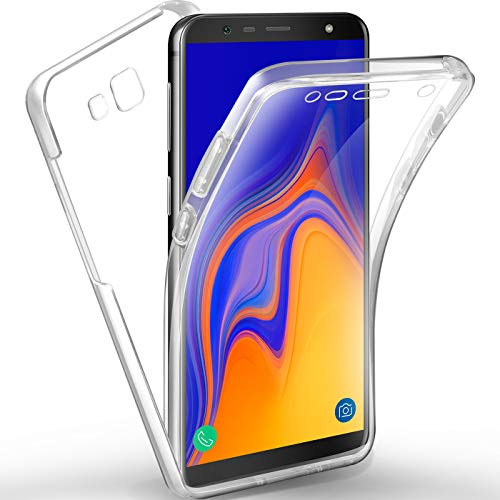 AROYI Galaxy J4 Plus Hülle 360 Grad Handyhülle, Silikon Crystal Full Schutz Cover [2 in 1 Separat Hart PC Zurück + Weich TPU Vorderseite] Vorne & Hinten Schutzhülle für Galaxy J4 Plus /J4+